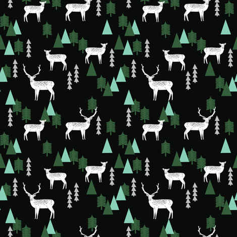 SMALL - Reindeer Geo Forest - Black by Andrea Lauren fabric by andrea_lauren on Spoonflower - custom fabric