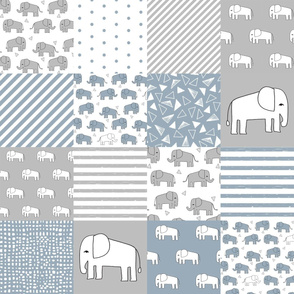 elephant baby cheater quilt - cute baby nursery crib sheet, baby blanket fabric - blue and grey