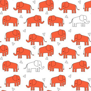 elephant fabric - orange scattered orange elephants baby nursery cute design