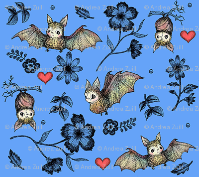 Bats and Hearts (Small print blue)