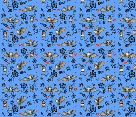 Bats and Hearts (Small print blue) fabric by andrea_zuill on Spoonflower - custom fabric