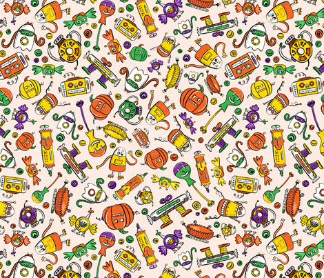Monster Halloween Candy Bots SCATTER in Orange, Black, Purple, & Green // Fall Holiday Themed Candy Shaped Robots // Nerdy Halloween fabric by zirkus_design on Spoonflower - custom fabric