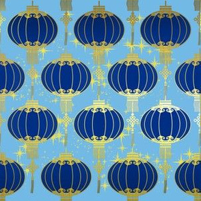 dazzling chinese lanterns in gold and  blue