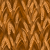 seamless wheat harvest fabric