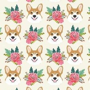 corgi head floral fabric - cute corgis, dogs, pink floral fabric - cream