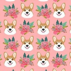 corgi head floral fabric - cute corgis, dogs, pink floral fabric - pink