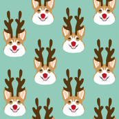 corgi reindeer fabric - cute christmas holiday xmas, christmas light fabric - mint