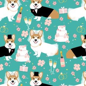 corgi wedding dog fabric - cute corgis, bride, groom, champagne, celebration - teal