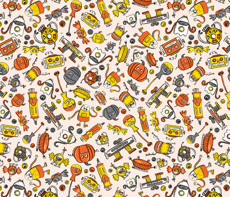 Monster Halloween Candy Bots SCATTER in Orange, Yellow, Black, & Gray  // Fall Holiday Themed Candy Shaped Robots // Nerdy Halloween fabric by zirkus_design on Spoonflower - custom fabric