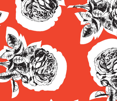 Deep Coral Red Rose fabric by brainsarepretty on Spoonflower - custom fabric
