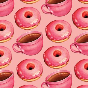 Coffee & Strawberry Donuts - Pink