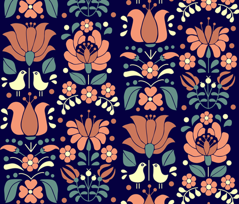 hungarian tulips blue fabric by gomboc on Spoonflower - custom fabric
