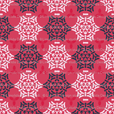 Red Pink and Blue Ornamental Damask Seamless