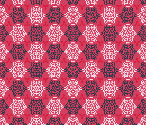 Red Pink and Blue Ornamental Damask Seamless fabric by limolida on Spoonflower - custom fabric