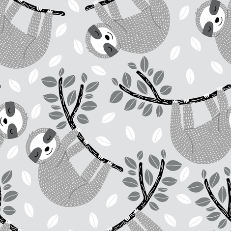 hanging sloths fabric by littlefoxhill on Spoonflower - custom fabric