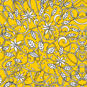 yellow floral doodle
