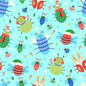Jolly Christmas Insects on Aqua