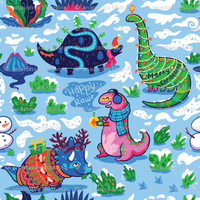 Christmas Dinos in the snow