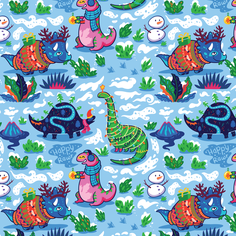 Christmas Dinos in the snow fabric by penguinhouse on Spoonflower - custom fabric