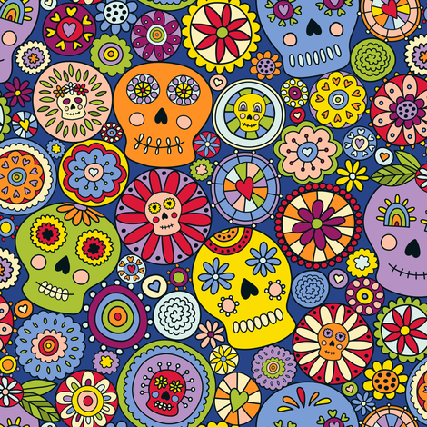 Festive Sugar Skulls fabric by moonpuff on Spoonflower - custom fabric