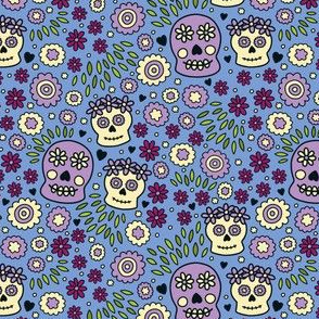 Sugar Skulls and Flowers in Blue & Purple