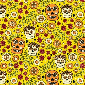 Sugar Skulls and Flowers in Yellow, Red & Orange