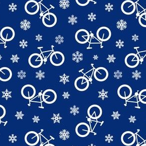 fat tire bikes - white on blue - winter sports