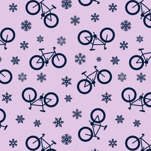 fat tire bikes - navy on purple - winter sports