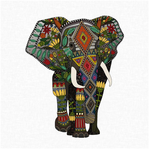 floral elephant white 18 inch panel
