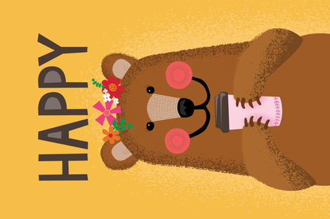 Happy Coffee Bear fabric by lisa_kubenez on Spoonflower - custom fabric