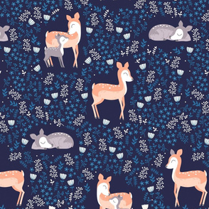 Floral Deer - navy