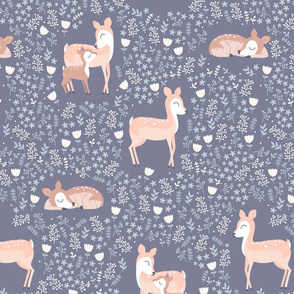 Floral Deer - purple grey