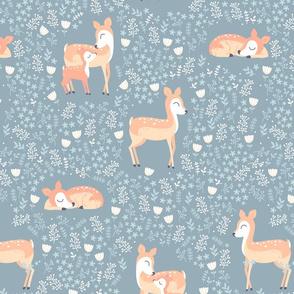 Floral Deer - silver