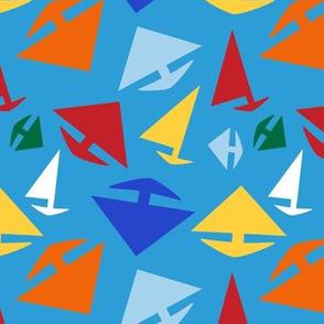 Kid's Wild Regatta, Sailboats on Blue