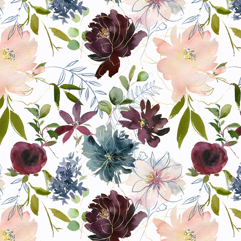 """12"""" Winter Whisper Florals // Lilac White fabric by hipkiddesigns on Spoonflower - custom fabric"""