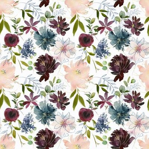 "8"" Winter Whisper Florals // Lilac White"
