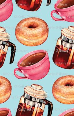 Coffee Donuts & Percolator - Blue