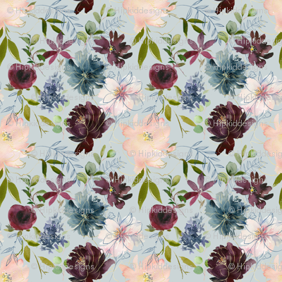 "8"" Winter Whisper Florals // Sinbad Blue"