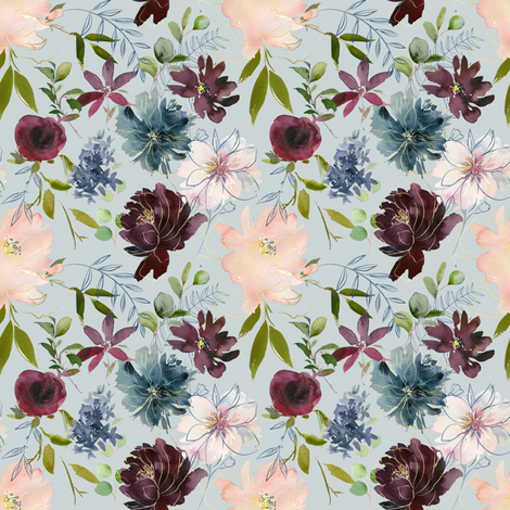 "8"" Winter Whisper Florals // Sinbad Blue fabric by hipkiddesigns on Spoonflower - custom fabric"