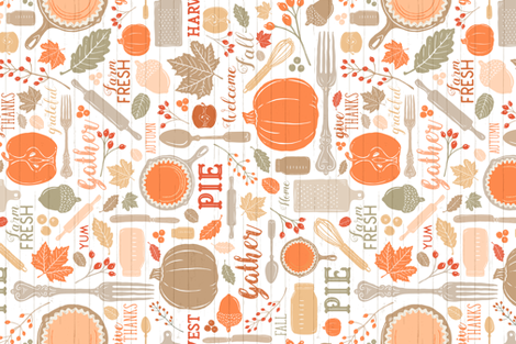 Bright Sing for Your Supper THANKSGIVING // Gather Round & Give Thanks - A Fall Festival of Food, Fun, Family, Friends, and PIE! (RR for Fat Quarter Tea Towel fabric by zirkus_design on Spoonflower - custom fabric