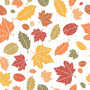 Autumn Walk in the Park // Brightly Colored Scattered Fall Leaves on a Textured White Shiplap Background (RR for Fat Quarter Tea Towels)