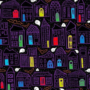Happy Haunted House City // Colored Doors, Quirky Houses, Smiling Ghosts, and Friendly Bats // Home for Halloween