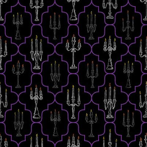 Creepy Candelabras with Colored Flames in Purple Geometric Design // Hand Drawn Halloween Haunted House