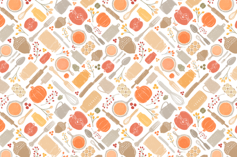 Bright Fall Vintage Baking Diagonal // Sing for Your Supper Fall-Autumn Edition // Kitchen Memories (RR for fat quarter tea towels) fabric by zirkus_design on Spoonflower - custom fabric