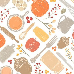 Bright Fall Vintage Baking Diagonal // Sing for Your Supper Fall-Autumn Edition // Kitchen Memories (RR for fat quarter tea towels)