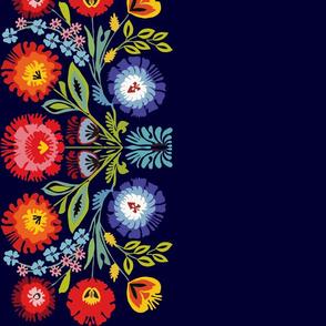 Wycinanki motif border blue