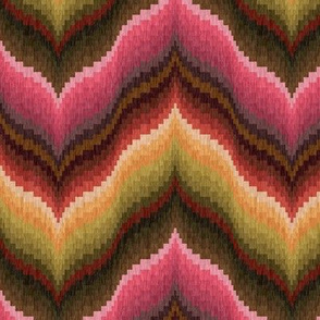 Bargello Curved Chervons in Pink and Brown