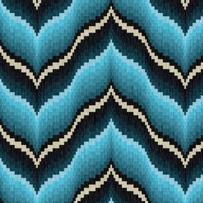 Bargello Curved Chevrons in Turquoise and Teal