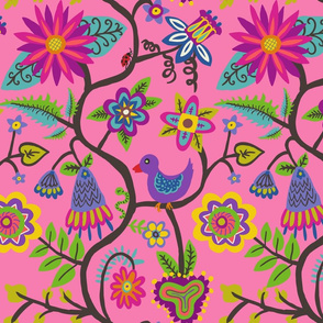 vines and flowers pattern pinks-01