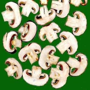 mushrooms chopped on green